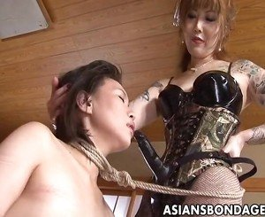 Rough Asian mistress plows her